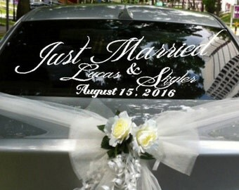 Just Married Custom Vinyl Car Decal Wedding Decorations Personalized Window