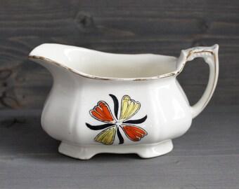 Vintage ceramic creamer orange and yellow flower - Milk jug Alfred Meakin England - Vintage Pot - Ceramic Milk Jug - Orange Rétro