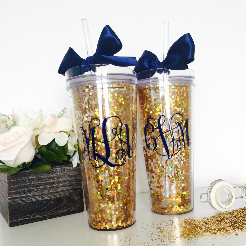 Personalized Glitter Tumbler Glitter Cup Monogram Cup