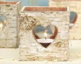 Set of 3 Birch box tea light candle holders with heart detailing