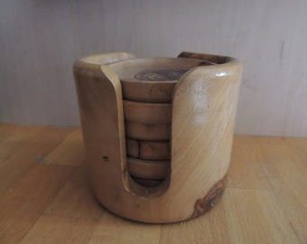 Vintage, Old  and Old Fashioned Wood Coasters from France
