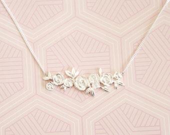 Sterling silver floral rose bar cluster necklace