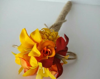 Red & Yellow Wedding Pen, Fall Wedding - Rustic Jute-wrapped Wedding Guest Book Handmade Flower Pen, Ballpoint Pen, Journal Pen ITEM 161