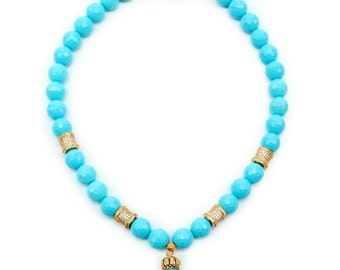 Turquoise Necklace with Drop. 925 sterling silver w 18k  gold plated