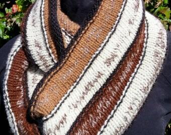 Striped Hand-Spun Merino & Alpaca Infinity Scarf