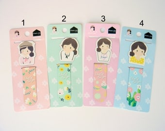 A Set of 2 Floral Girl Magnetic Page Markers, Magnetic Bookmark, Girl Bookmark, Cute Bookmark, Planner Page Marker, Planner Accessories