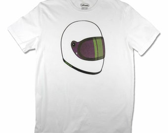 Men's Skid Lid motorcycle helmet T-shirt in purple and lime, made in California and screen printed with water based ink.