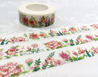 pink garden washi masking tape 10M blossom flower sticker tape garden flower peony flower camellia flower decor gift wrapping tape sticker