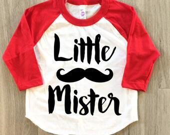 Little Brother - Little Mister Mustache Raglan - baby boy clothes toddler shirt