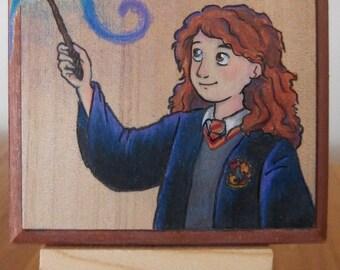 Hermione Granger Wood Block drawing - ORIGINAL