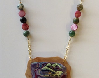 Faux abalone necklace in polymer clay with glass beads