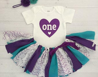 Purple and Teal Birthday Outfit with Headband/Purple and Teal Fabric Tutu/Baby Girl