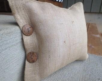Bedmini Decor- Coconut Buttons Burlap Pillow Cover, pillow cover, decorative pillow, burlap pillow cover, small pillow cover, european sham