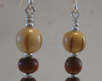 Wood, bone & silver bead earrings