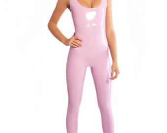 Latex bodysuit with open top without zipper