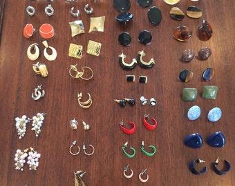 Lot of 39 pairs of Vintage pierced earrings