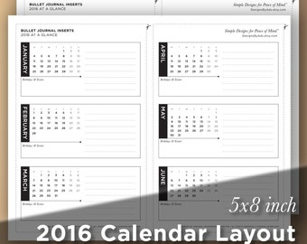 Bullet Journal Insert: 2016 Calendar Layout - At-a-Glance Year, 4 sheets in 1 PDF, Printable Digital Download