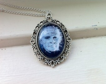 Hellraiser Pinhead Glass Cabochon Necklace