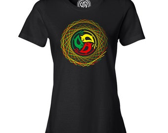 Three Little Birds Ladies Trippy Squares Tee Black 3LB Top for Her