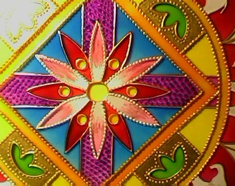 Bright stained glass painting on glass Mandala