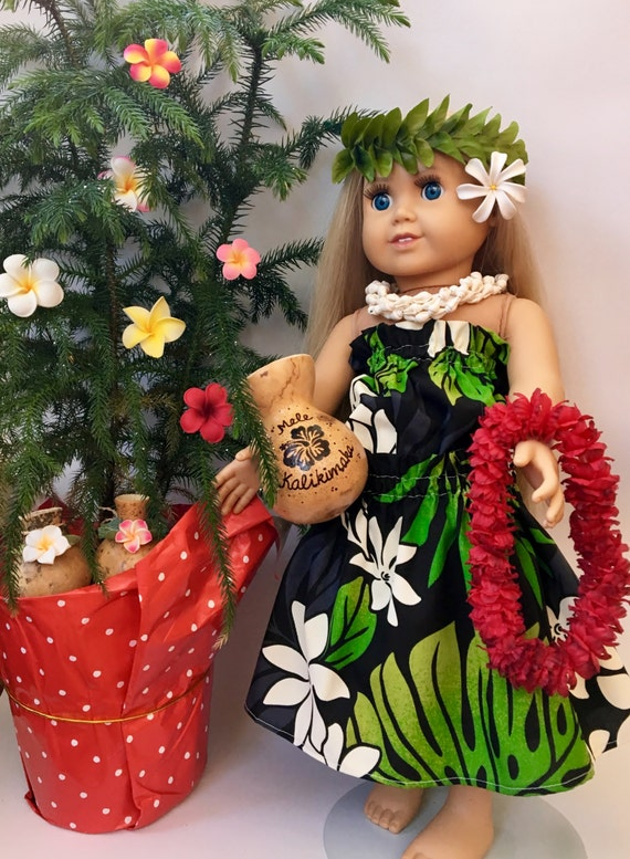 Doll Hula Outfit - Black Tiare