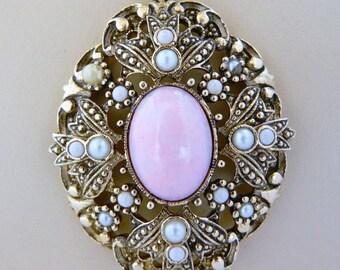 Vintage Avon Faux Pearl Pendant Choker Necklace Open Work Boho Chic Gold Tone