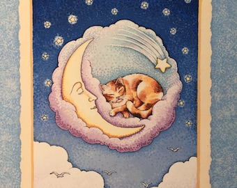 "Sleeping Cat Print, Moon Print, 8 x 10 Giclee Print, ""Lunar Cat,"" Baby Nursery Decor, Children Wall Art, Nursery Art, Alice Scott-Morris"