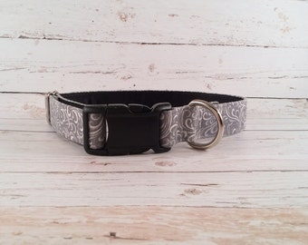 MADE TO ORDER- Grey and White Swirl Dog Collar, Choose width- Buckle or Martingale- add Embroidery and/or Leash