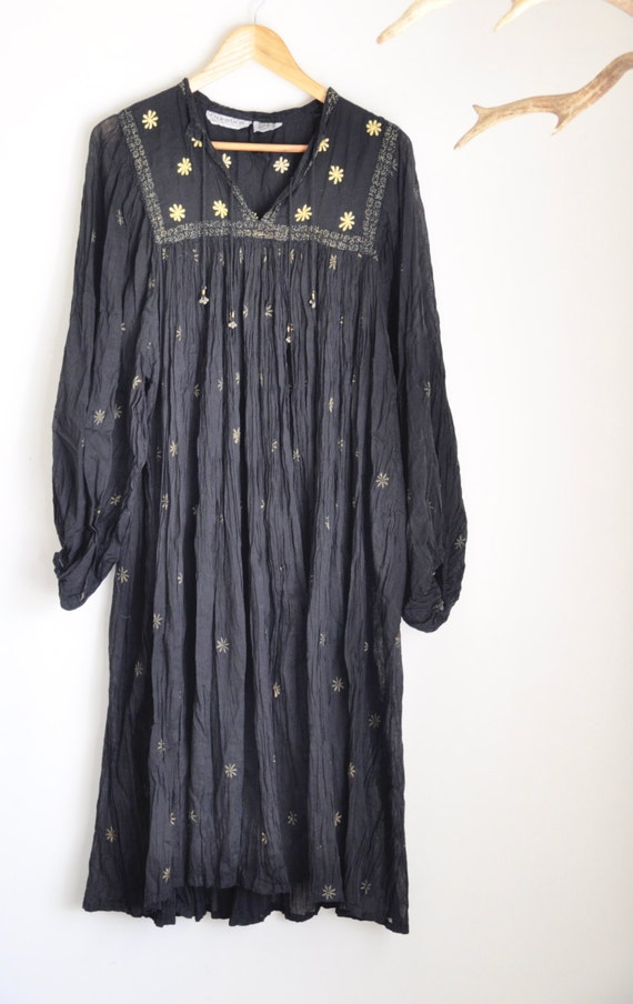 Indian Boho Hippy Dress Vintage Gauze Black Cotton Amp Bells