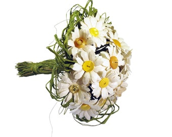 Daisy Paper Bouquet - Bridal Bouquet with Yellow Vintage Buttons and Ivory Cream Handmade Paper