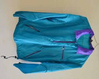 Blue & Purple Windbreaker Half Zip Jacket 90s Vintage Oversized Medium
