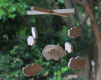 Percy - Handmade Wooden Flying Pig Nursery Mobile