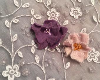 Hand-felted & Embellished Floral Hair Clips