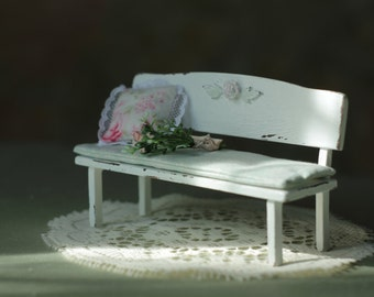 """1:12 Dollhouse miniature Bench """"a Spring morning"""""""