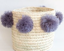 Basket with pompoms, upcycled, size middle