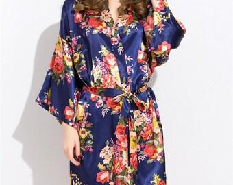 Floral Satin Bridesmaids Robe Navy Blue, Wedding Gifts, Bridal Party Gift, Spa Robes