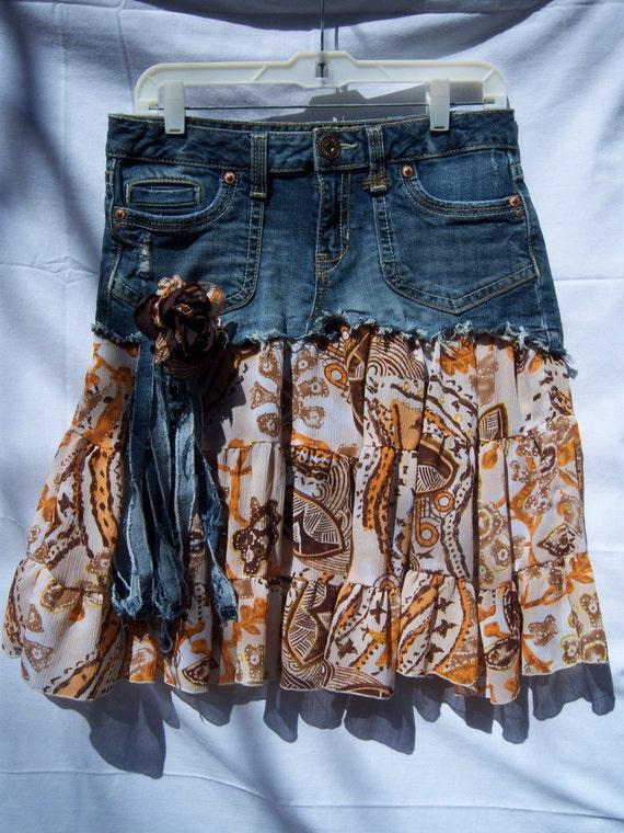 Aeropostale Upcycled Denim Skirt