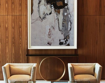 Handmade Extra Large Contemporary Painting, Huge Abstract Canvas Art, Original Artwork.black White,Brown, gray,golden,Propylene painting