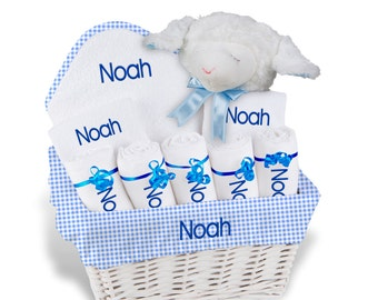 Personalized Baby Gift Basket, Baby Boy Gift Basket - 2 Bibs, 5 Burp Cloths. Towel Set, Plush - Large(A)