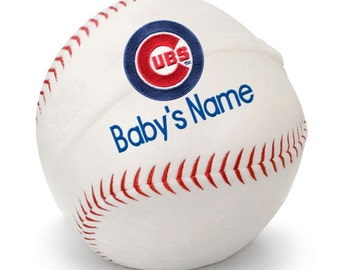 Personalized Baby Chicago Cubs Baby Plush Baseball