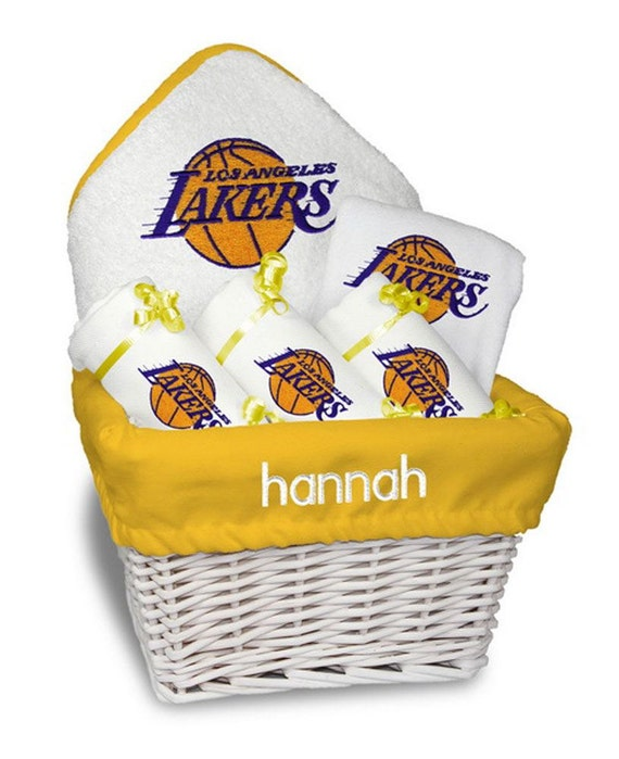 Baby Gift Los Angeles : Personalized los angeles lakers baby gift basket bib burp
