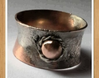 fine silver reticulated and copper ring