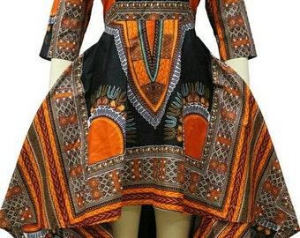 Dashiki ankara wax African print high low dress