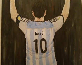 Lionel Messi Argentina Oil on Canvas