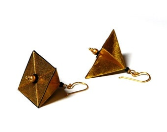 Origami PYRAMID earrings gold/black