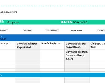 Student Weekly Assignment Planner Printable