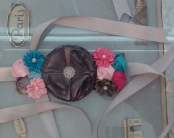 Gray, Blue and Pink Maternity Belly Sash