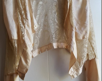 Torn and Tattered gorgeous Edwardian silk and lace jacket