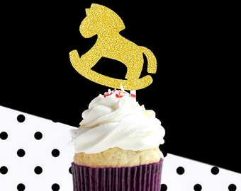 12 gold glitter rocking horse cupcake toppers, glitter party decoration,birthday party,gold glitter cupcake topper,baby shower