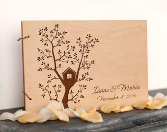 Guest Book Wedding guest book Rustic Guest Book House Guest Book Tree House Custom wedding guestbook Housewarming New Home gift wedding Book